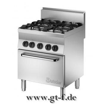 4 Flammen Gasherd Serie 650 mit Elektro-Umluftbackofen 1/1 GN