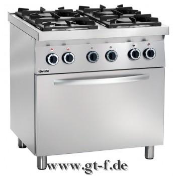 4 Flammen Gasherd MFG740 mit Elektro-Umluftbackofen GN 1/1