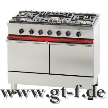 5 Flammen Gasherd mit 2 Elektrobackofen mit Grill