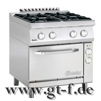 4 Flammen Gasherd Serie 700 mit Elektro-Umluftbackofen 1/1 GN