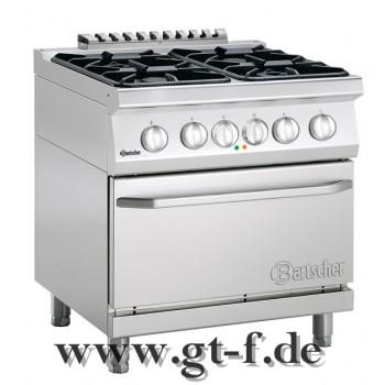 4 Flammen Gasherd Serie 700 mit Elektrobackofen 2/1 GN