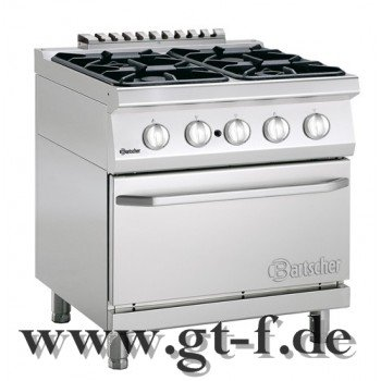4 Flammen Gasherd Serie 700 mit Gasbackofen 2/1 GN