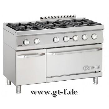 6 Flammen Gasherd Serie 700 mit Gasbackofen 2/1 GN