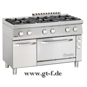6 Flammen Gasherd Serie 700 mit Elektro-Umluftbackofen 1/1 GN