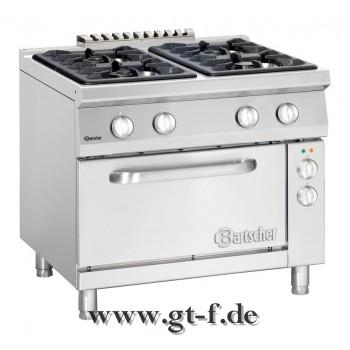 4 Flammen Gasherd Serie 900 mit Elektrobackofen 2/1 GN