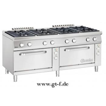8 Flammen Gasherd Serie 900 mit 2 Elektrobacköfen 2/1 GN