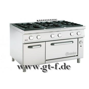 6 Flammen Gasherd Serie 900 mit Gasbackofen 2/1 GN