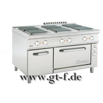6 Platten Elektroherd Serie 900 mit Elektrobackofen 2/1 GN
